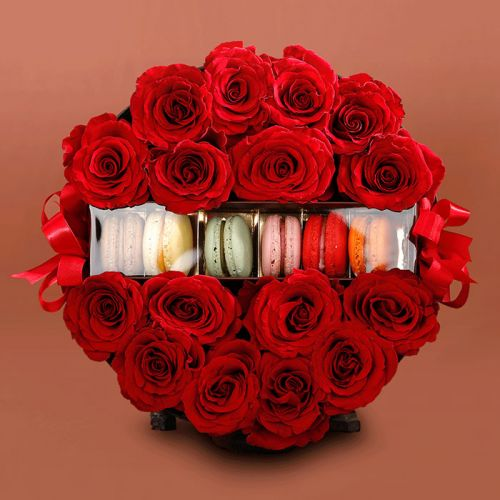 Box of Red Roses with Macaroons