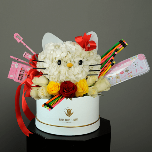 Back to School Floral gifts (hello kitty inspired) light blue box