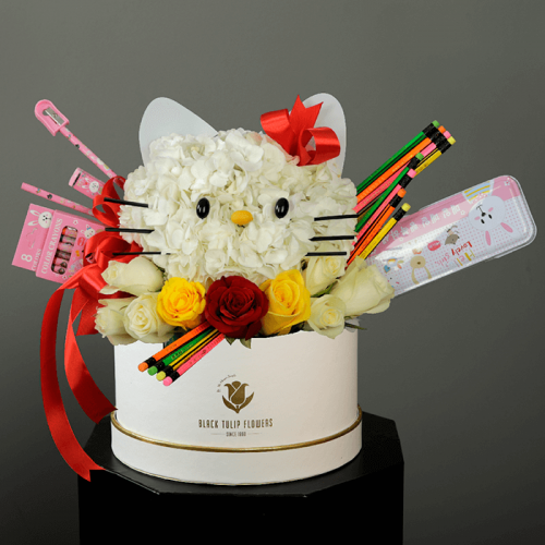 Back to School Floral gifts (hello kitty inspired) in a white box