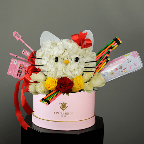 Back to School Floral gifts (hello kitty inspired) in a pink box