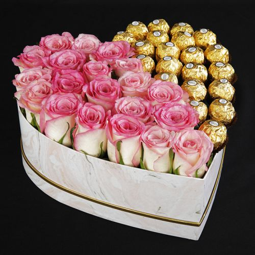 Heart Shaped Box Of Pink Roses and Ferrero's | Blacktulipflowers.in