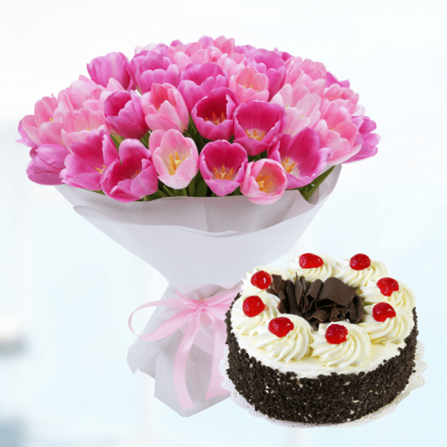 Pink tulips with Black Forest Cake | Blacktulipflowers.in