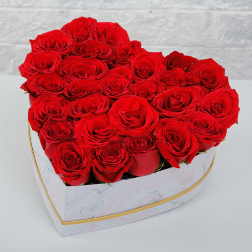 Red Roses In Heart Shaped Marbled Box