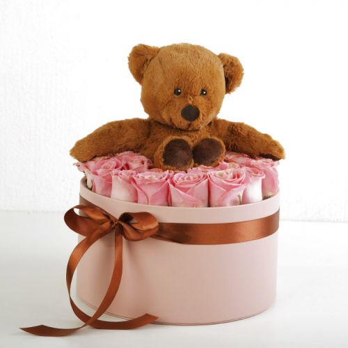 Teddy With Box Of Roses | Blacktulipflowers.in